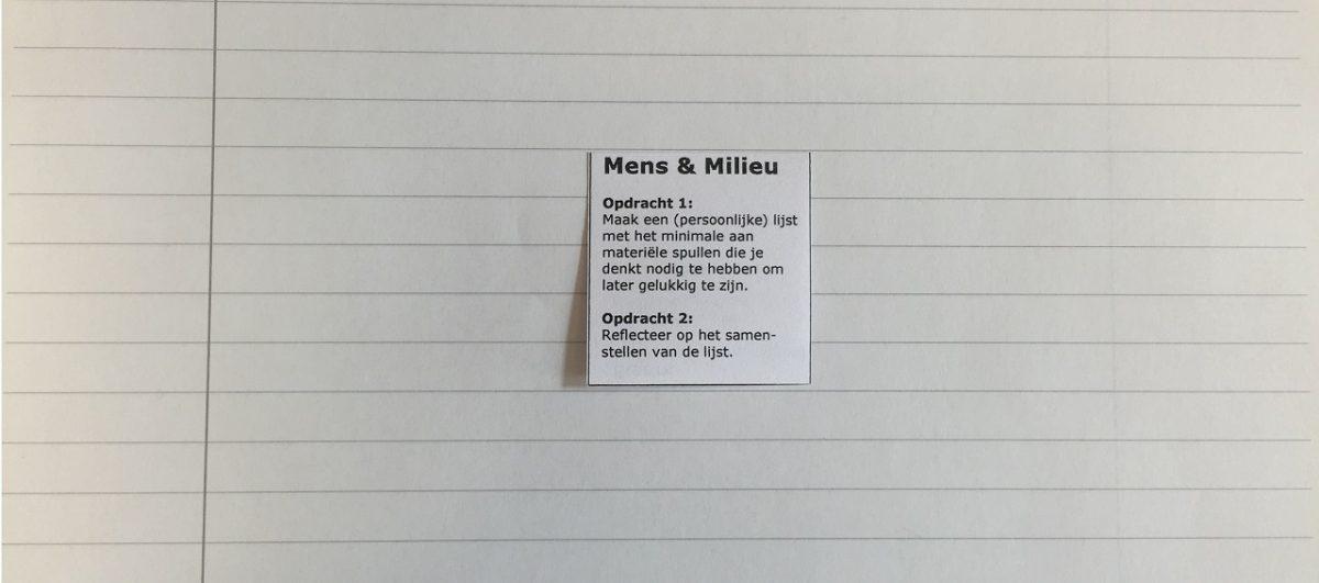 Minimalistische milieu-opdracht